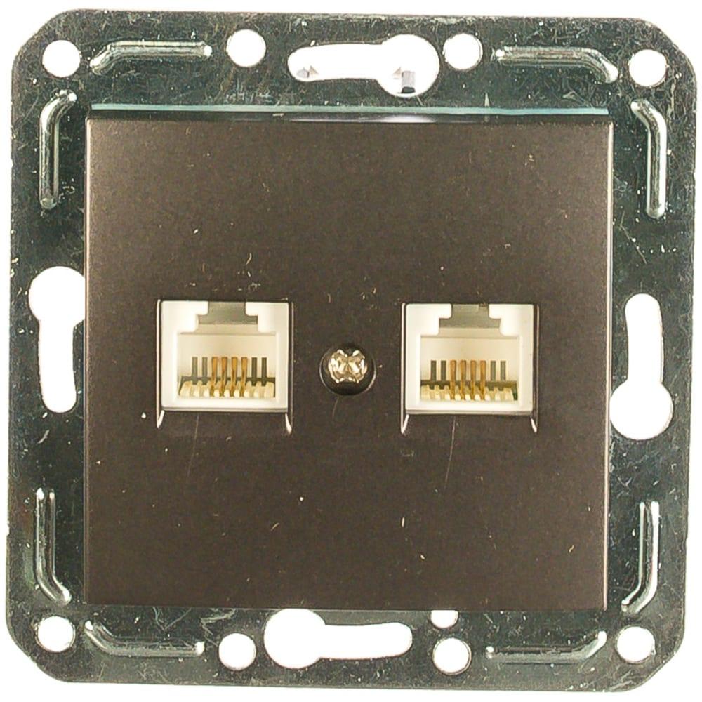 Двухместная телефонная розетка volsten v01-14-f22-m, rj -11, magenta nero, 9994