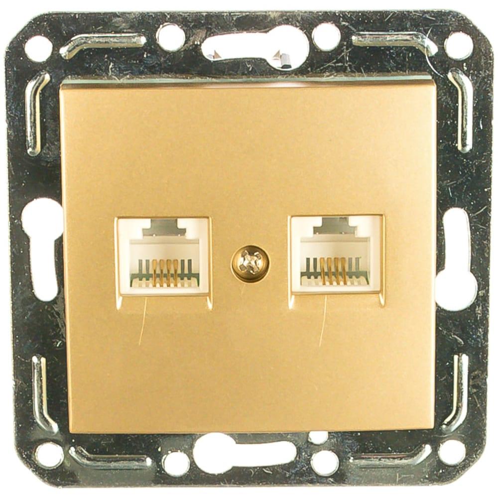 Двухместная розетка volsten v01-16-f22-m, rj-11 magenta dorado, 10038