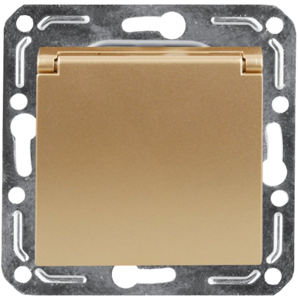 Бытовая розетка с крышкой и заземлением volsten v01-16-r18-m magenta dorado, 10044
