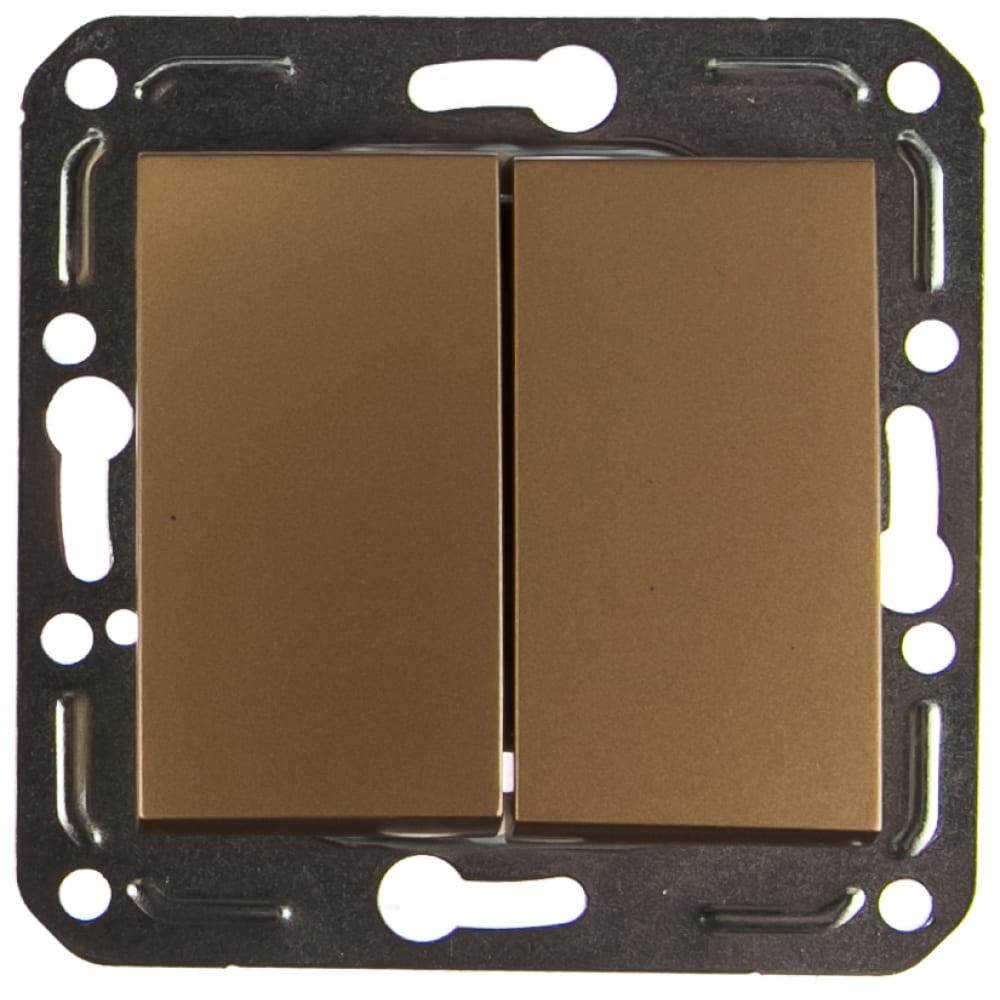 Двухклавишный выключатель volsten v01-16-v21-m magenta dorado, 10050