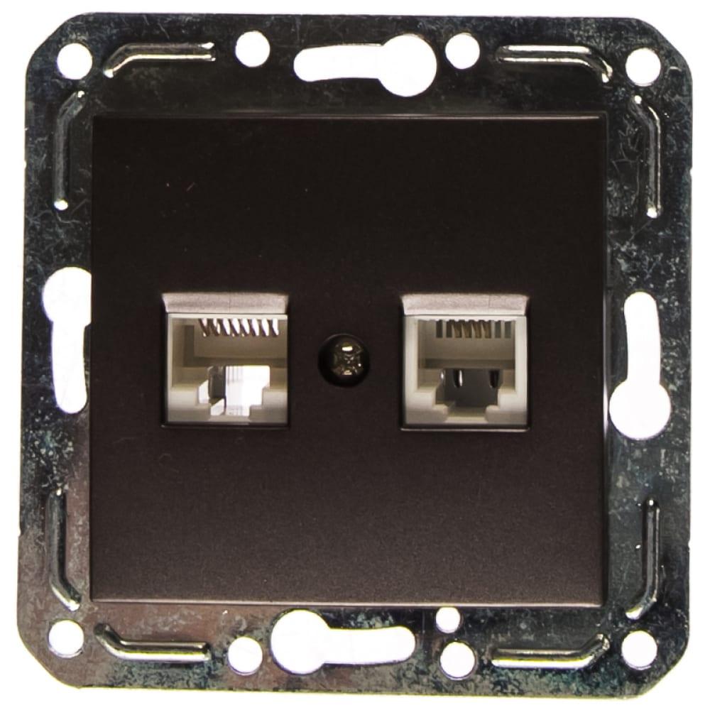 Компьютерная и телефонная розетка volsten v01-24-m10-m violet, 10083