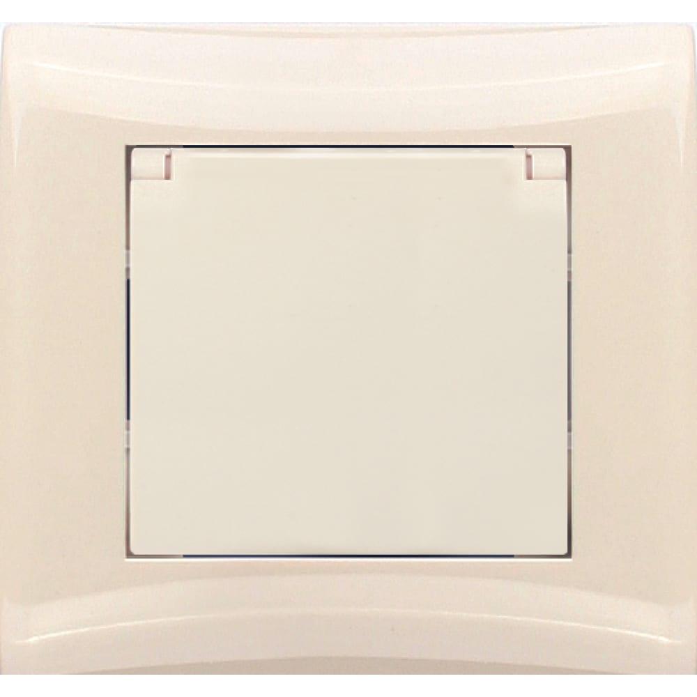 Розетка с заземлением и крышкой volsten v01-12-r18-s magenta crema 8995