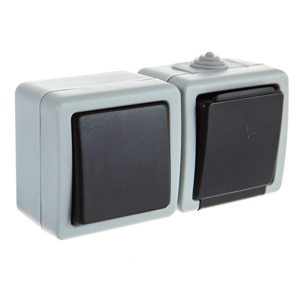 Выключатель с заземленной розеткой volsten v01-43-v1r-s marin grey, 9451