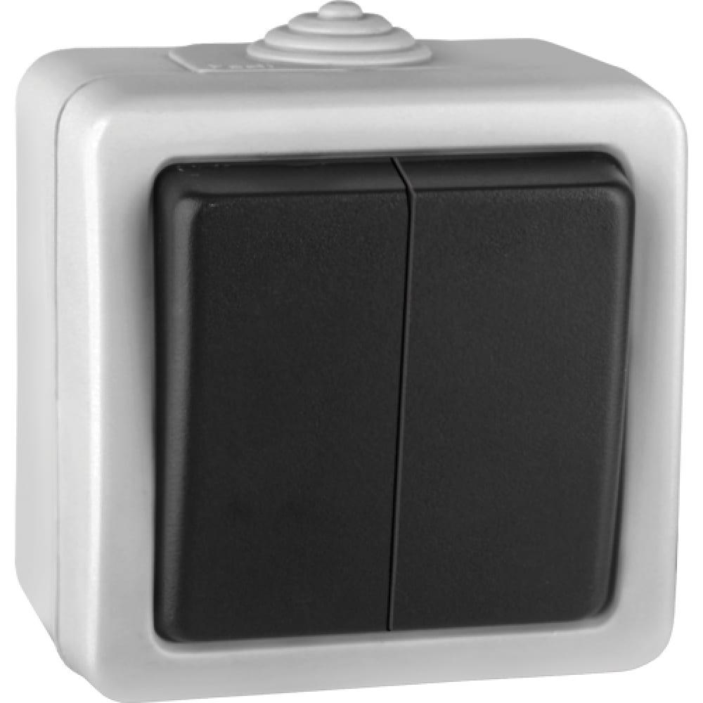 Двухклавишный выключатель volsten v01-43-v21-s marin grey, 9443