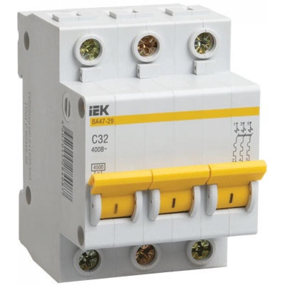 Автоматический 3-полюсный выключатель, 4а, с ва47-29 4.5ка iek mva20-3-004-c