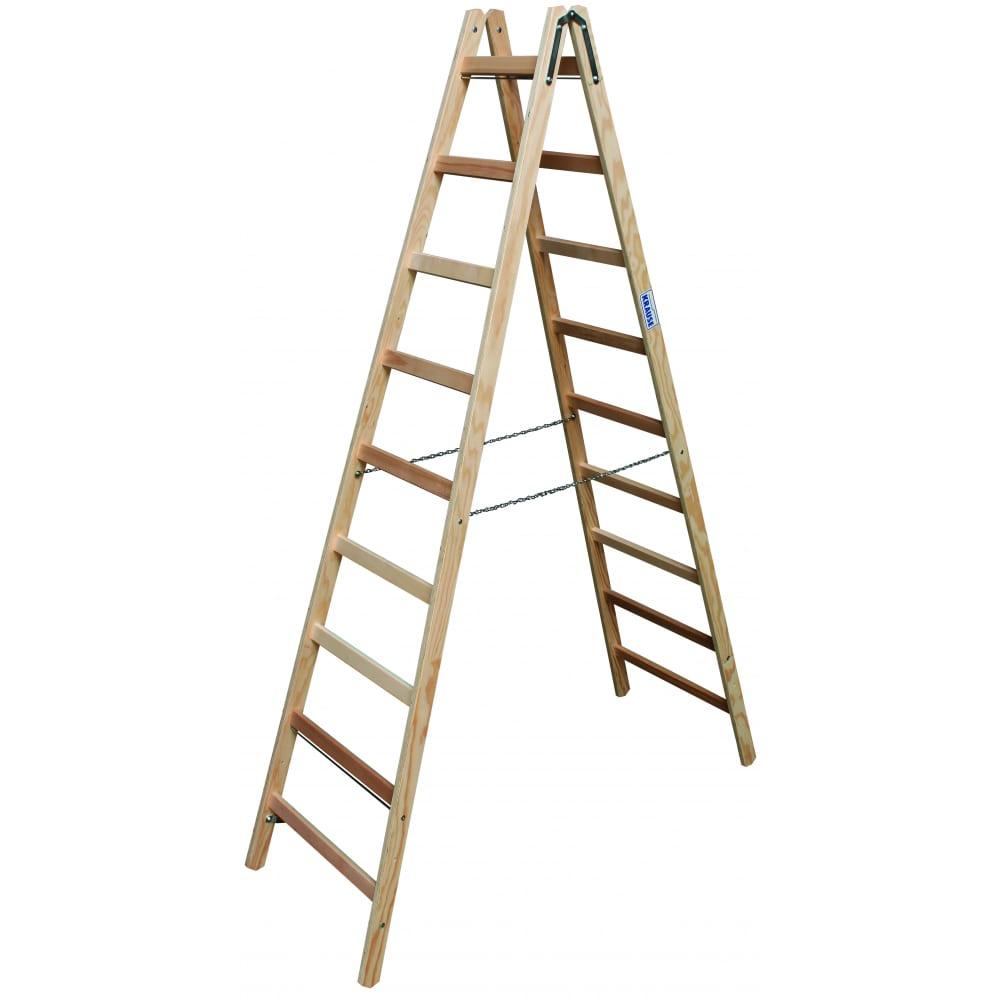 Двусторонняя лестница из дерева krause 170118