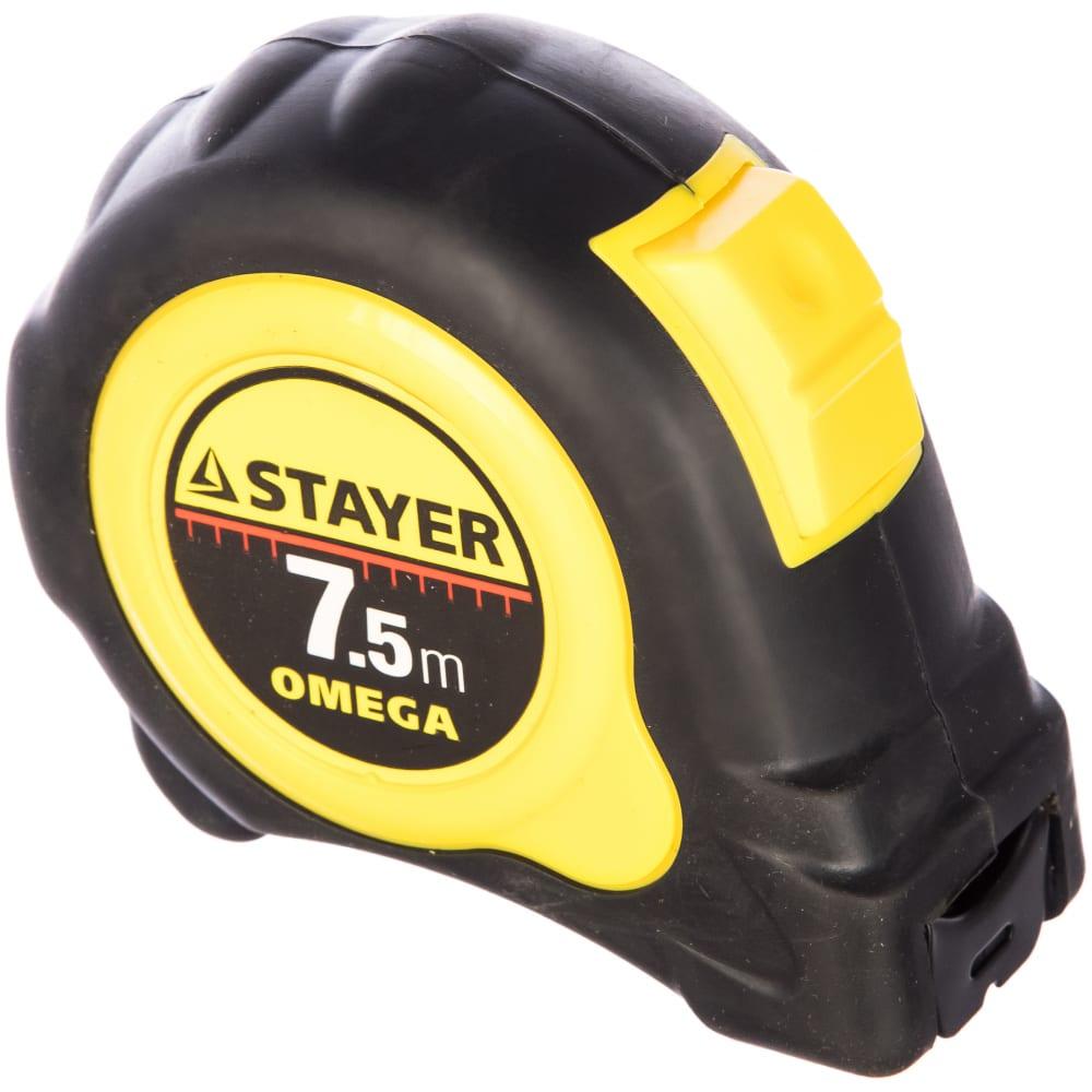 Рулетка с обрезиненным корпусом, 7,5мх25мм stayer master autolock 3402-08-25