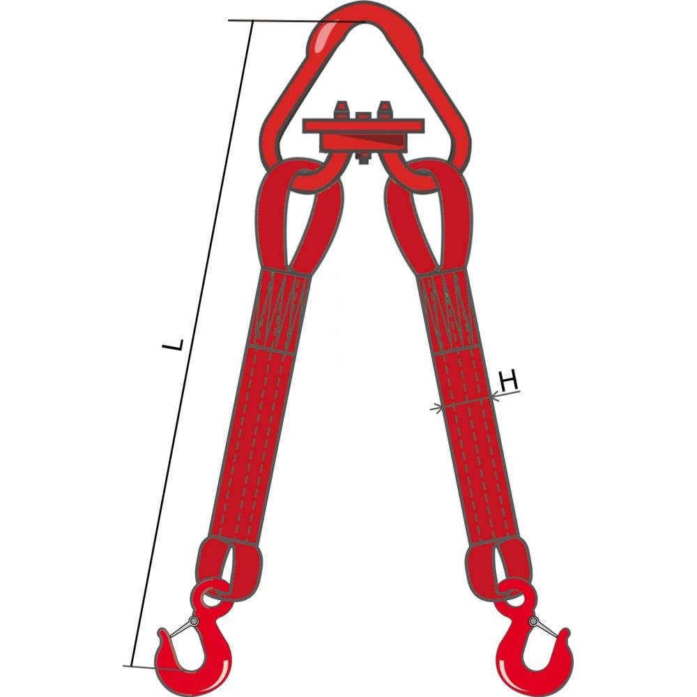 Двухветвевой текстильный строп кантаплюс 2ст-6.3/6.0мДвухветвевые стропы 2СТ<br>Вес: 20.52 кг;<br>Длина: 6 м;<br>Ширина: 150 мм;<br>Грузоподъемность: 6.3 т;<br>Цвет: красный ;<br>Класс товара: Бытовой ;<br>Тип: с крюками ;