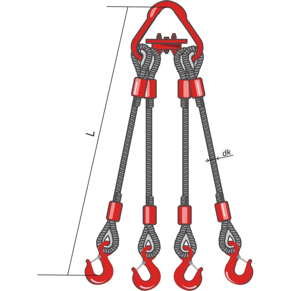 Четырехветвевой канатный строп опрессовка кантаплюс 4ск-1.6/1.0мЧетырехветвевые стропы 4СК<br>Вес: 4.25 кг;<br>Длина: 1 м;<br>Материал: сталь ;<br>Тип: опрессовка с крюками ;<br>Диаметр каната: 8.3 мм;<br>Грузоподъемность: 1.6 т;<br>Класс товара: Бытовой ;