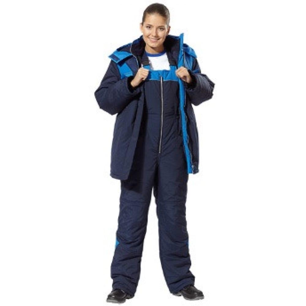 Костюм утепленный женский авангард-спецодежда лавина р.120-124/170-176 63849Рабочие костюмы<br>Ткань: полиэфир+хлопок ;<br>Утеплитель: синтепон ;<br>Max температура: -18 °C;<br>Состав ткани: основная: «Сису» (77% полиэфир, 23% хлопок); утеплитель: синтепон (в куртке 360 г/м2, в полукомбинезоне 240 г/м2);подкладка: 100% полиэфир,флис ;<br>Размер: 120-124 ;<br>Рост: 170-176 см;<br>Капюшон: есть ;<br>Цвет: темно-синий с васильковой отделкой ;<br>ГОСТ\ТУ: ТУ 8570-001-72179571-2011 ;<br>Вес: 1.69 кг;<br>Международный размер: XXXL (56-58) ;<br>Сигнальный: нет ;<br>Единиц в упаковке: 5 шт.;<br>Защитные свойства: от пониженных температур и вестра, общих загрязнений, истираний ;<br>Тип: женский с полукомбинезоном ;