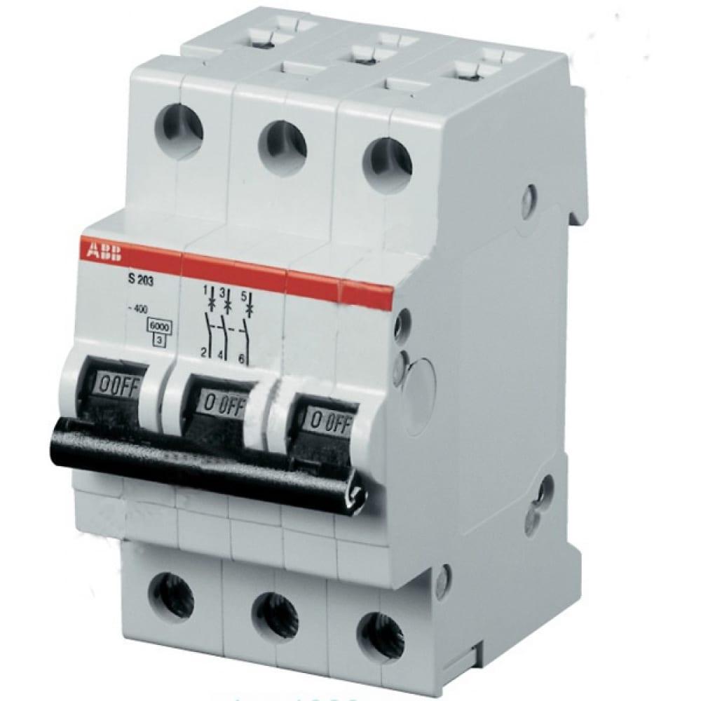 Автоматический модульный выключатель abb 3п c s203 6ка 6а 2cds253001r0064Автоматические выключатели<br>Номинальный ток: 6 А;<br>Тип расцепления: С ;<br>Вес: 0.625 кг;<br>Количество полюсов: 3 ;<br>Отключающая способность: 6 кА;<br>Серия: S200 ;<br>Вид: автоматический выключатель ;