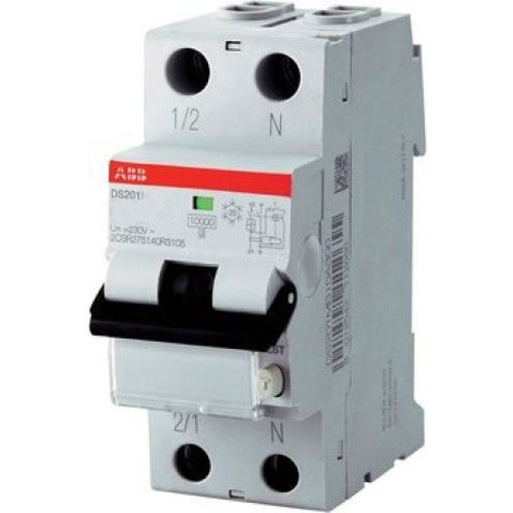 Купить Автоматический выключатель дифференциального тока abb 1п+n c 30ma тип ac 6ka ds201 16a 2csr255040r1164