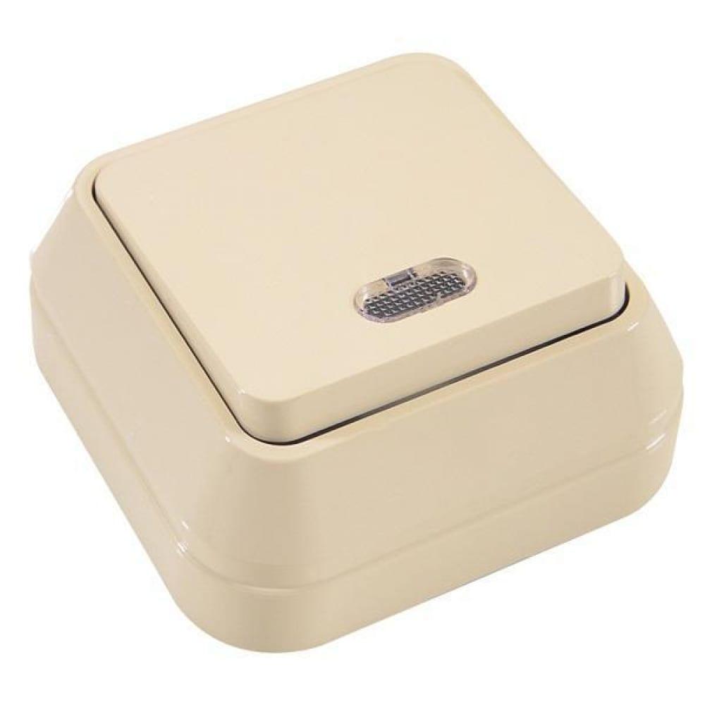 Выключатель накладной одноклавишный с подсветкой, крем makel siva ustu 45221  - купить со скидкой