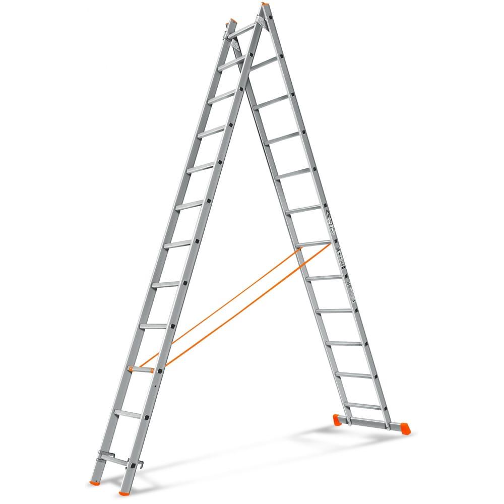 Двухсекционная лестница эйфель гранит 2х12