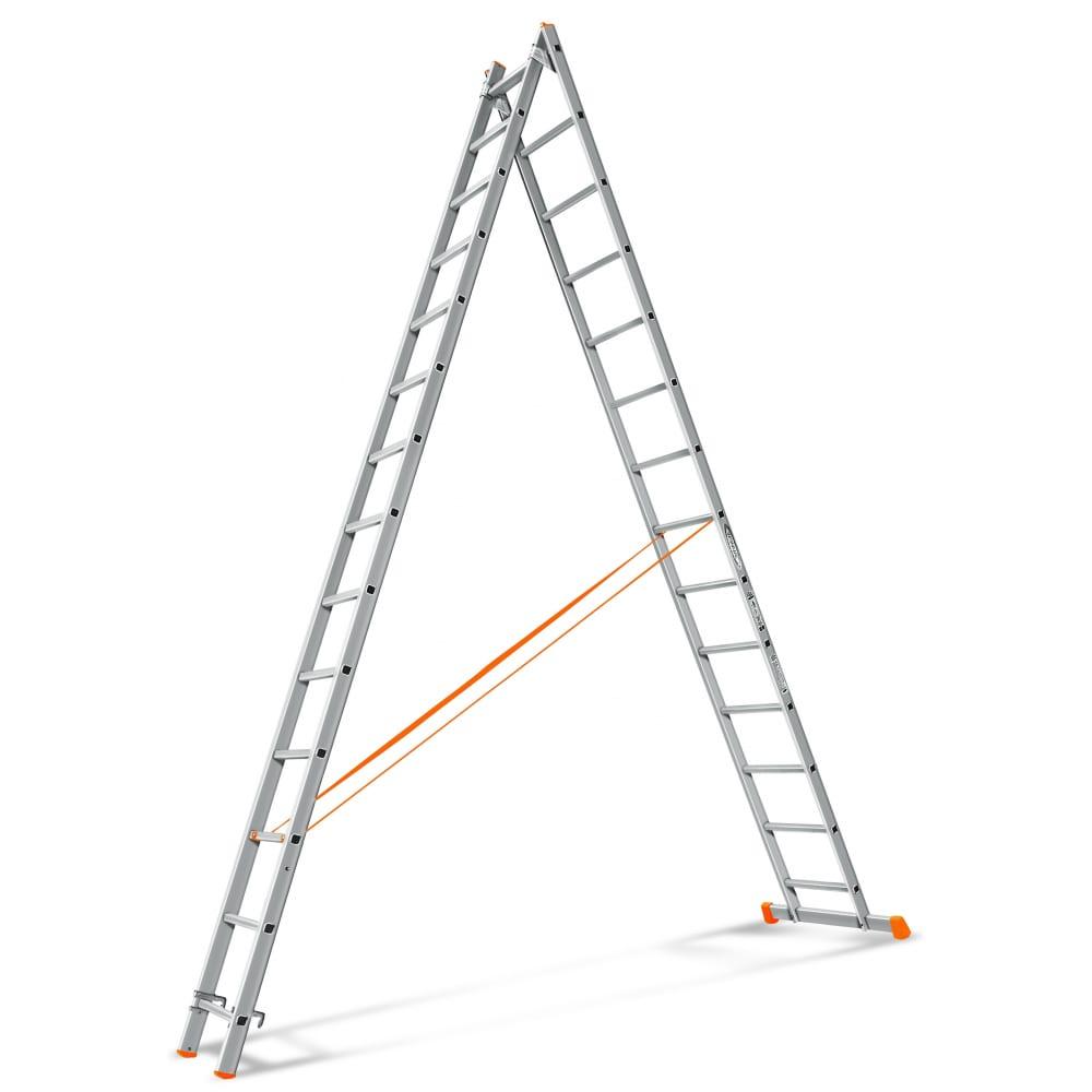 Двухсекционная лестница эйфель гранит 2х14