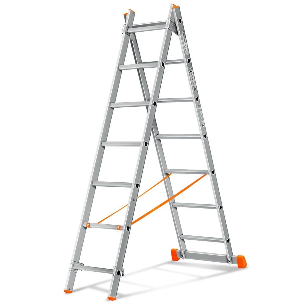 Двухсекционная лестница эйфель гранит 2х7