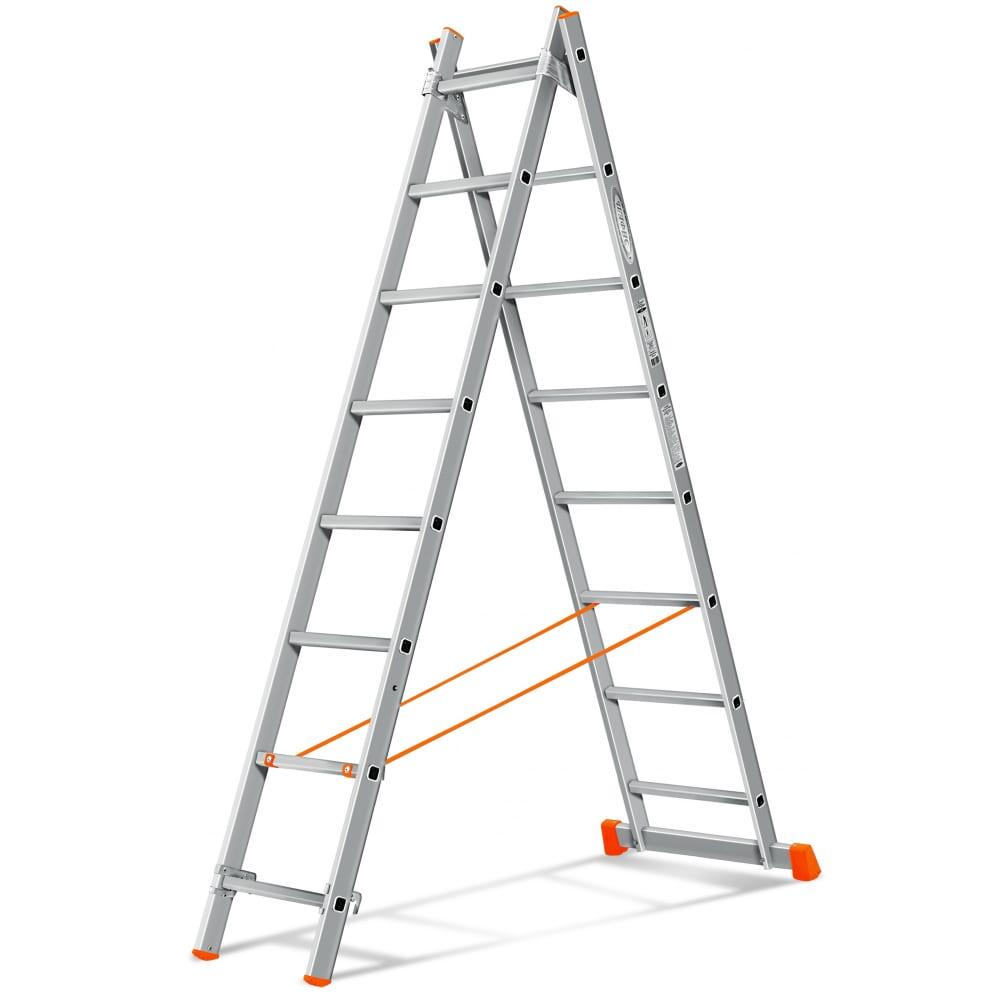 Двухсекционная лестница эйфель гранит 2х8