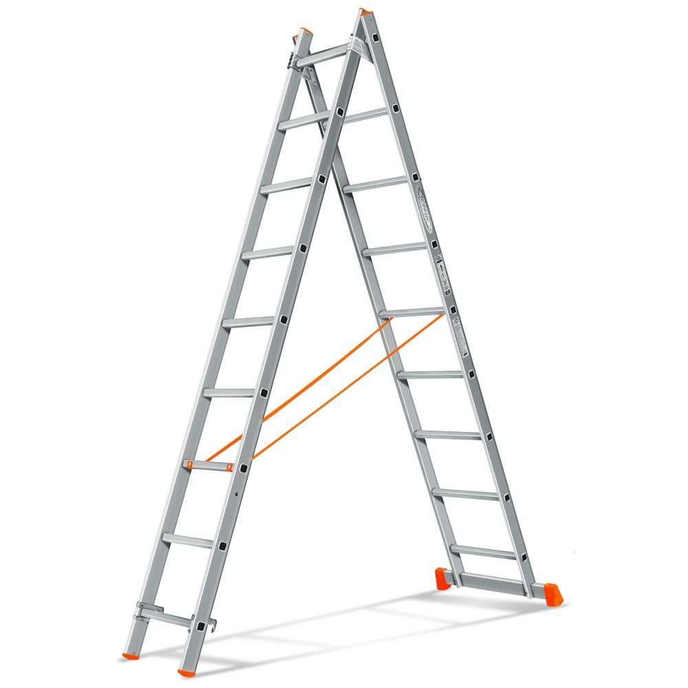 Двухсекционная лестница эйфель гранит 2х9