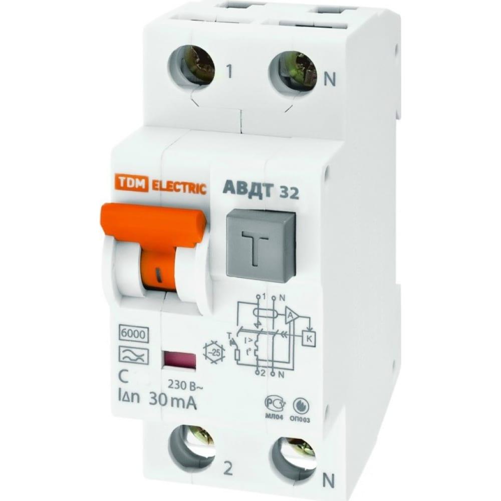 Автоматический выключатель дифференциального тока tdm авдт 32 c 32а 30ма sq0202-0032