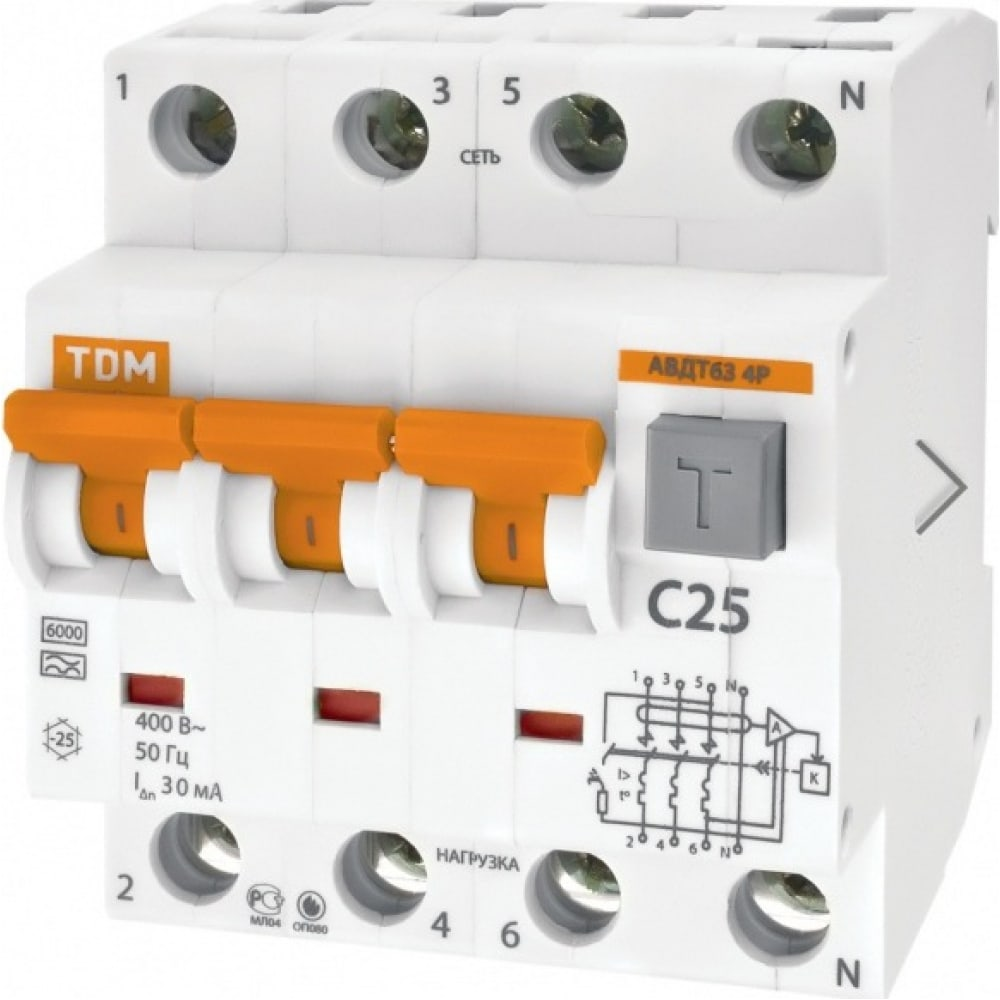 Автоматический выключатель дифференциального тока tdm авдт 63 4p c16 100ма sq0202-0021