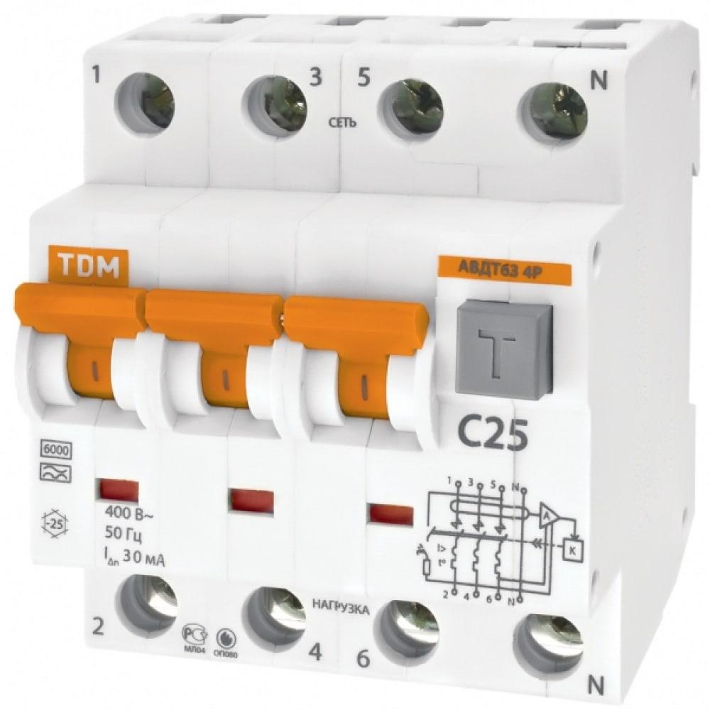 Автоматический выключатель дифференциального тока tdm авдт 63 4p c16 300ма sq0202-0025