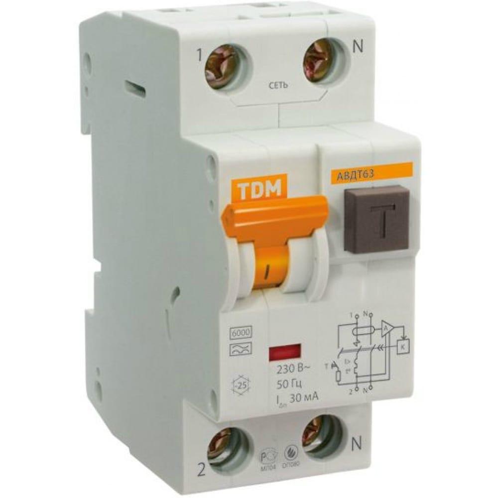 Автоматический выключатель дифференциального тока tdm авдт 63 2p c 63а 30ма sq0202-0012
