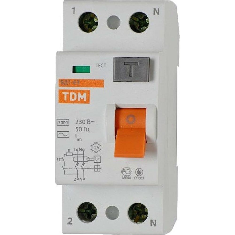 Узо tdm sq0203-0019 вд1-63Устройства защитного отключения (УЗО)<br>Ток утечки: 30 мА;<br>Вес: 0.2 кг;<br>Количество полюсов: 2 ;<br>Номинальное напряжение: 220 В;<br>Тип: модульный ;<br>Номинальный ток: 63 А;<br>Степень защиты: IP20 ;<br>Серия: ВД1-63 ;<br>Тип утечки: АС ;<br>Вид: устройство защитного отключения, дифференциальный выключатель ;