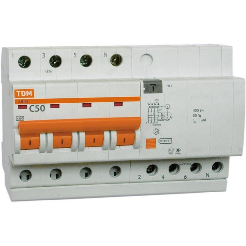 Дифавтомат ад14 4п, 40 а, 300 ма tdm sq0204-0041