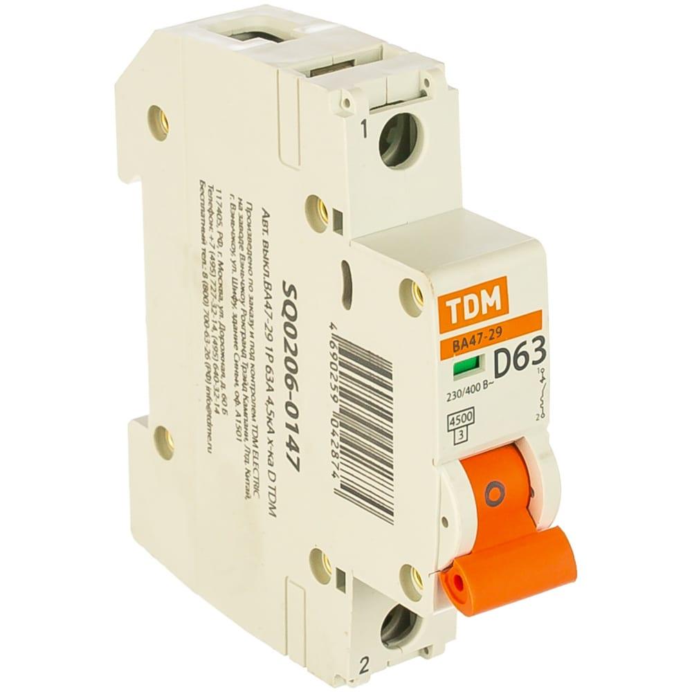 Автоматический выключатель tdm ва47-29 1р 63а 4.5ка d sq0206-0147