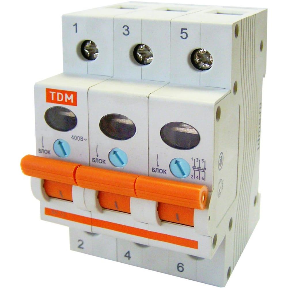 Выключатель нагрузки мини-рубильник tdm вн-32 3p 16a sq0211-0021