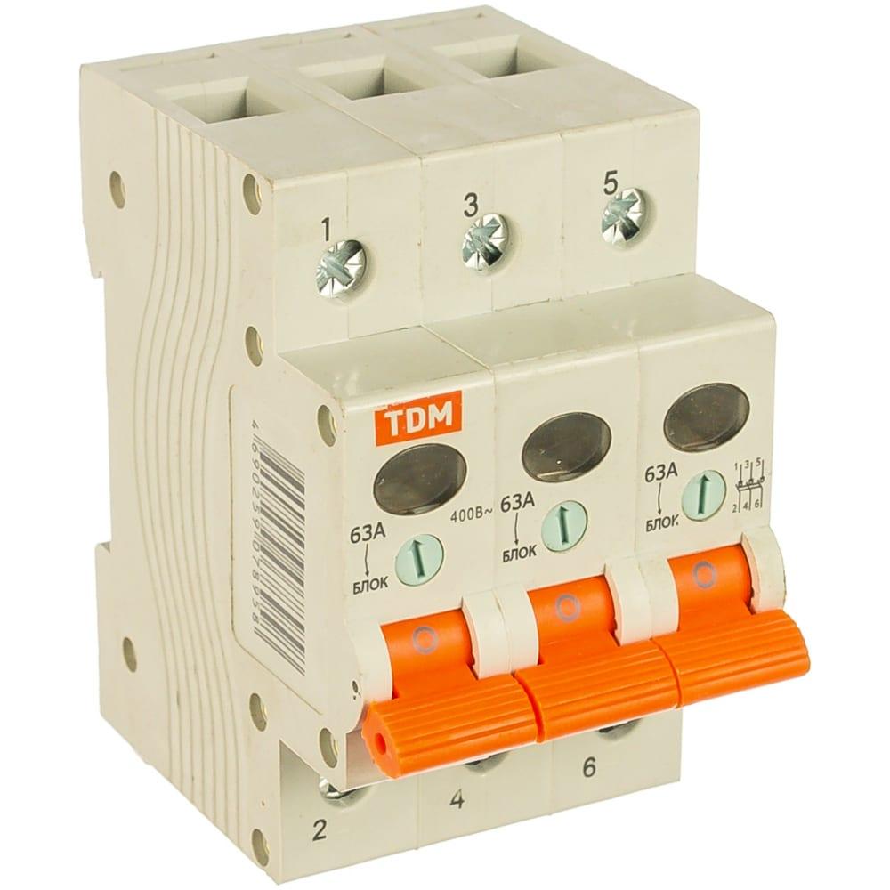 Выключатель нагрузки мини-рубильник tdm вн-32 3p 63a sq0211-0027