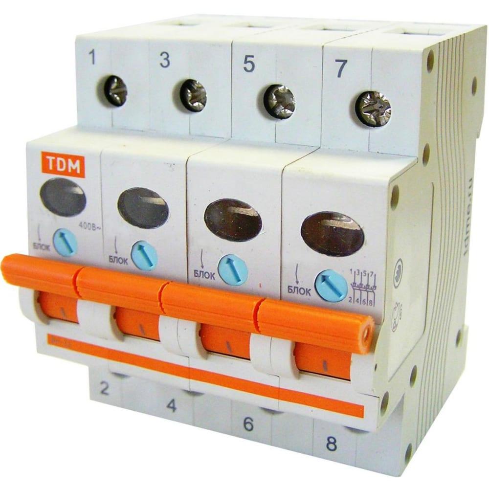 Выключатель нагрузки мини-рубильник tdm вн-32 4p 63a sq0211-0037