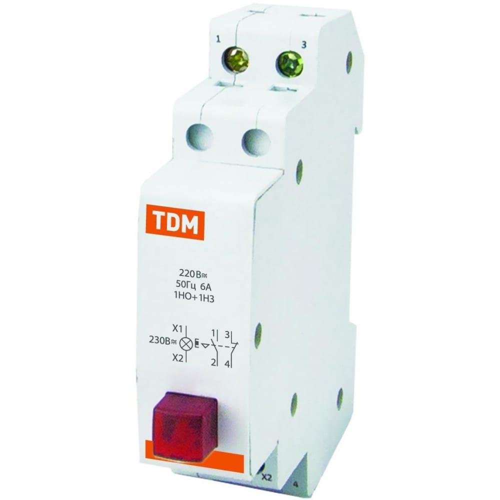 Кнопочный выключатель c фиксацией и индикацией tdm вк-47m 1но;1нз желтый sq0214-0018