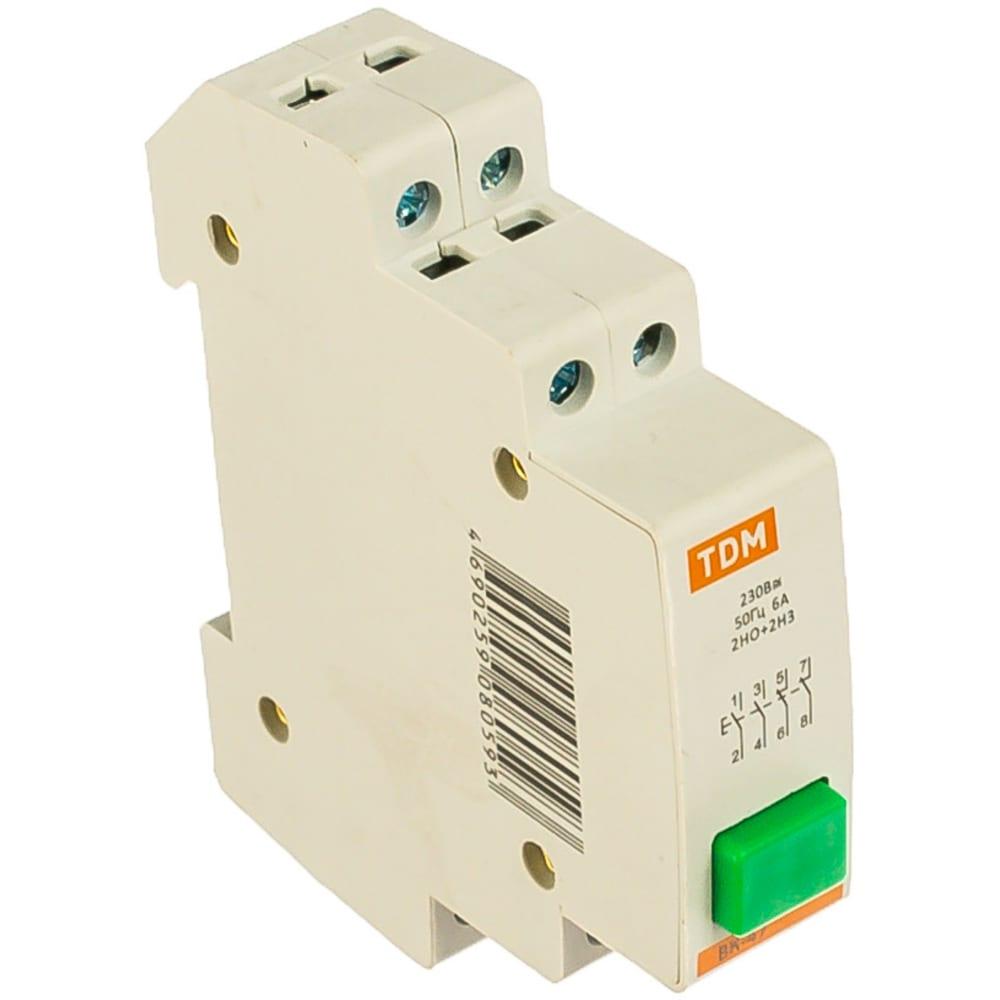 Кнопочный выключатель зеленый tdm вк-47 2но;2нз sq0214-0006