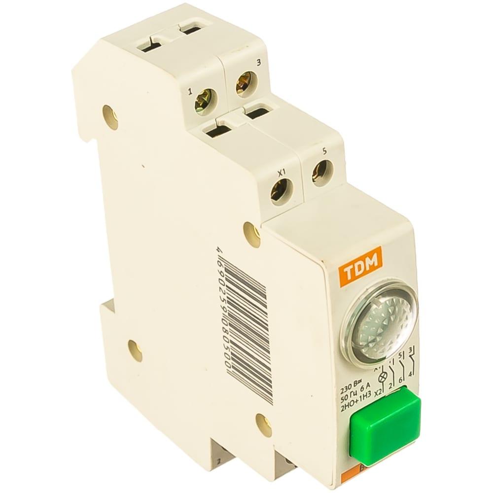 Кнопочный выключатель с индикацией tdm вки-47 зеленый led 2но;1нз ac/dc sq0214-0003