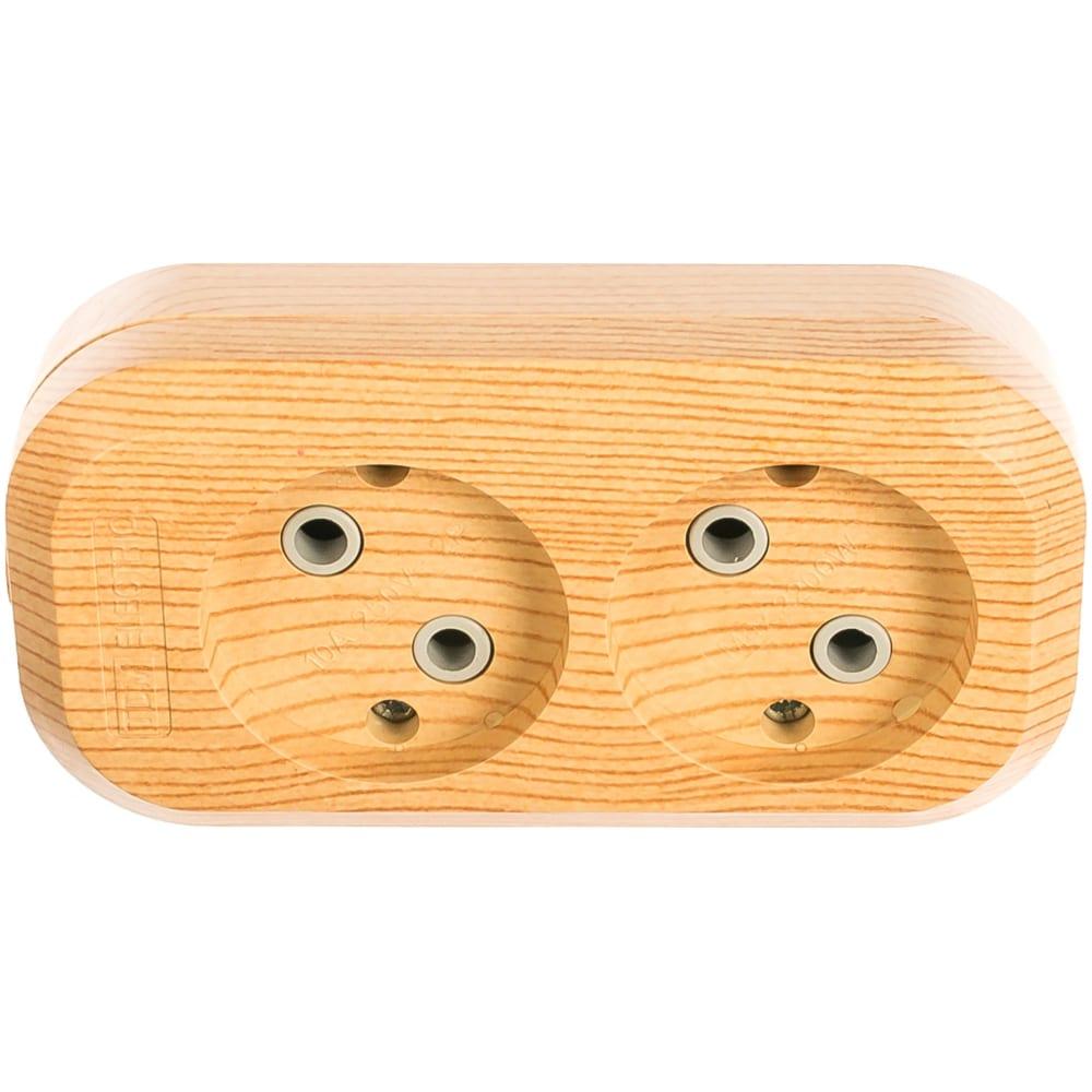 Розеточная колодка, 2 гнезда, сосна tdm sq1806-0045
