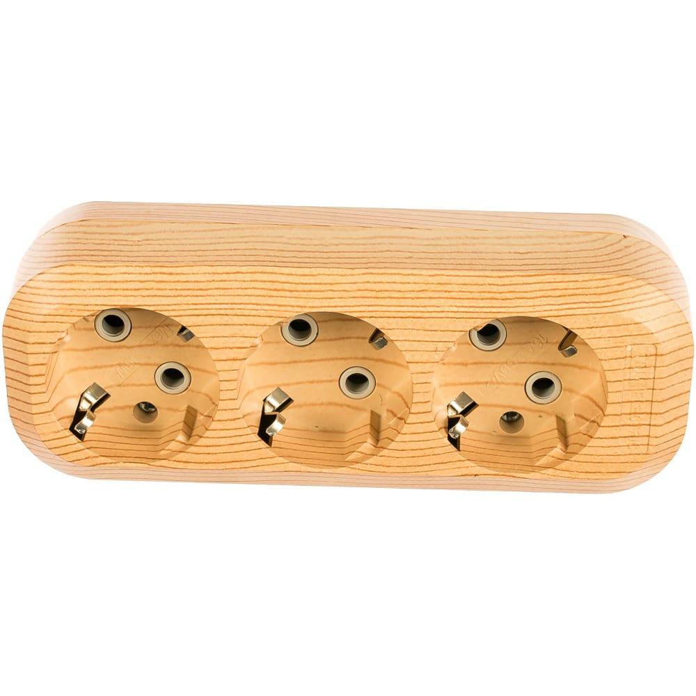 Розеточная колодка, 3 гнезда, сосна tdm sq1806-0048