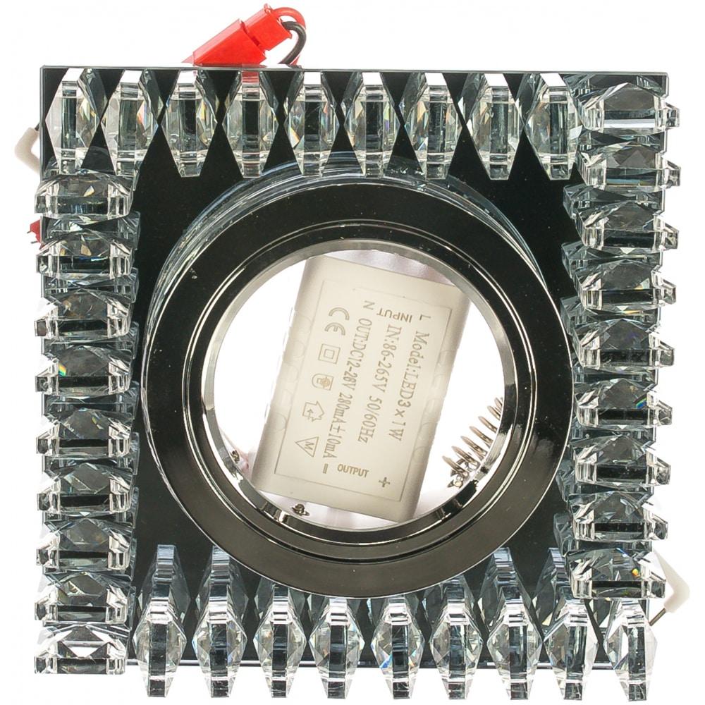 Точечный светильник gauss backlight черный/кристалл/хром gu5.3 led подсветка 2700k bl031