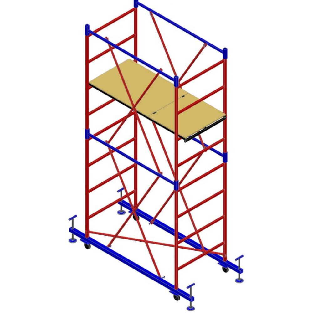 Вышка-тура мега мега-2м н=10.8м 918Вышки - туры<br>Max высота: 10.8 м; <br>Высота секции: 1.5 м; <br>Высота площадки: 10 м;