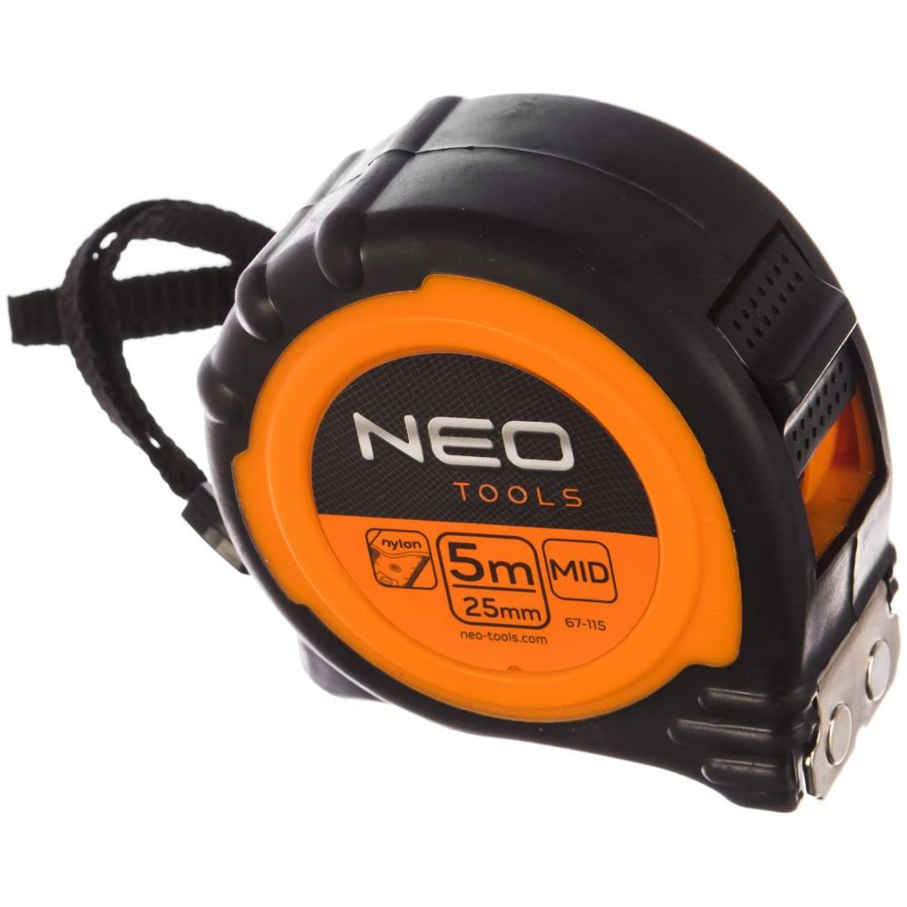 Рулетка neo стальная лента 5 мx25 мм магнит 67-115