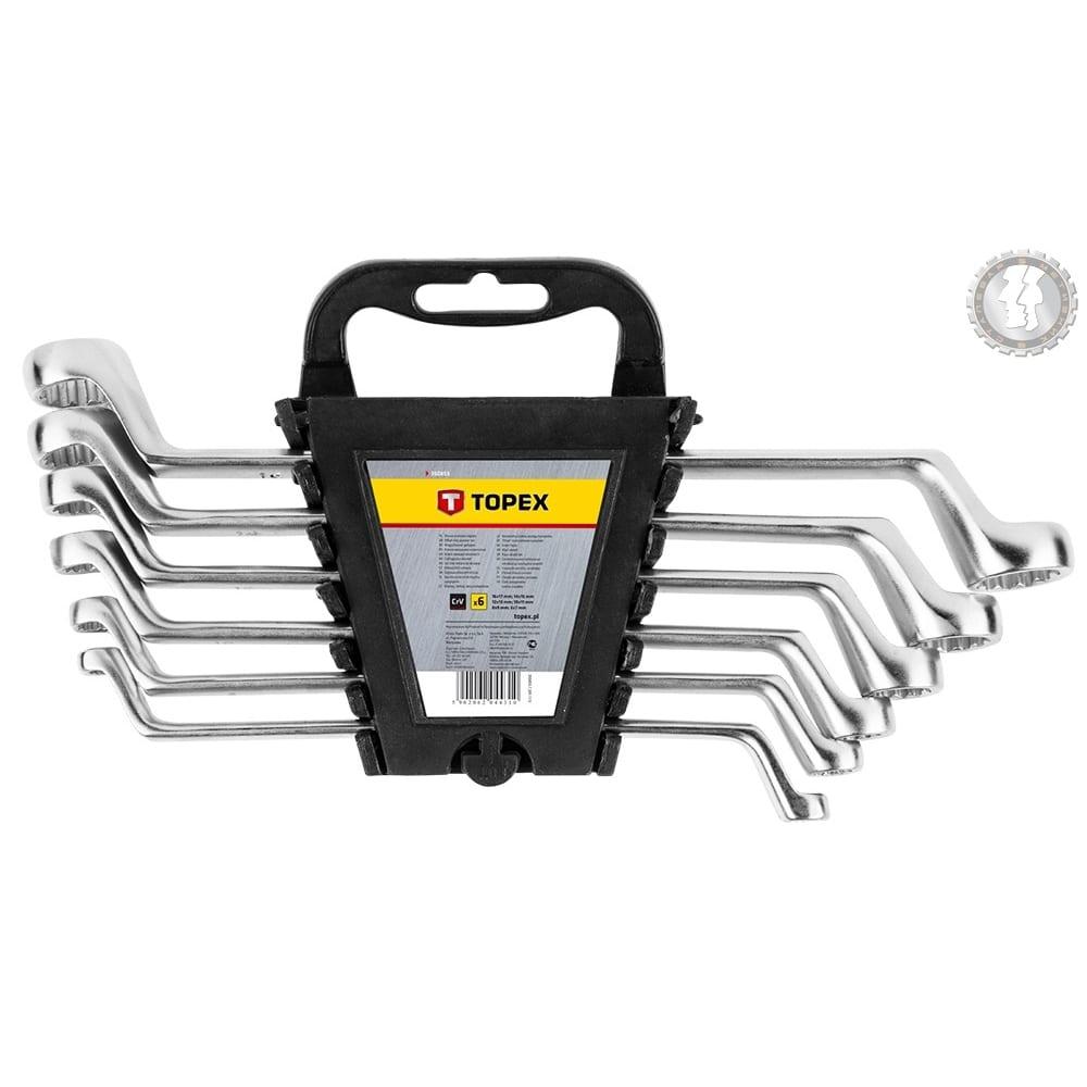 Накидные изогнутые ключи topex 6-17 мм, 6 шт. 35d855
