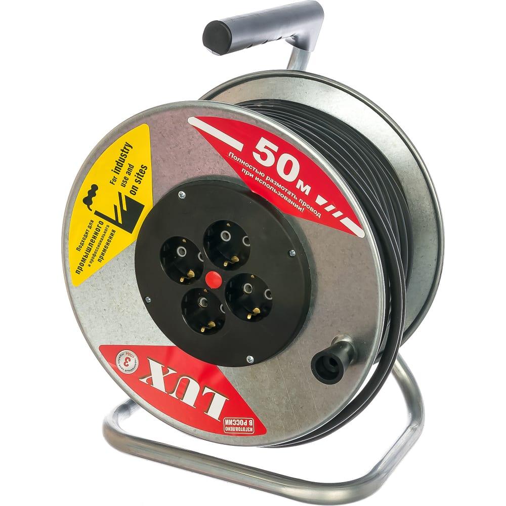 Силовой удлинитель на металлической катушке lux к4-е-50 50м 4 розетки с з/к 44150 4606400419457