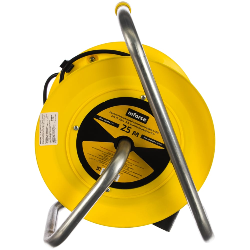 Силовой удлинитель на катушке inforce к1-о-25 пвс 2x0.75 25 м 22025