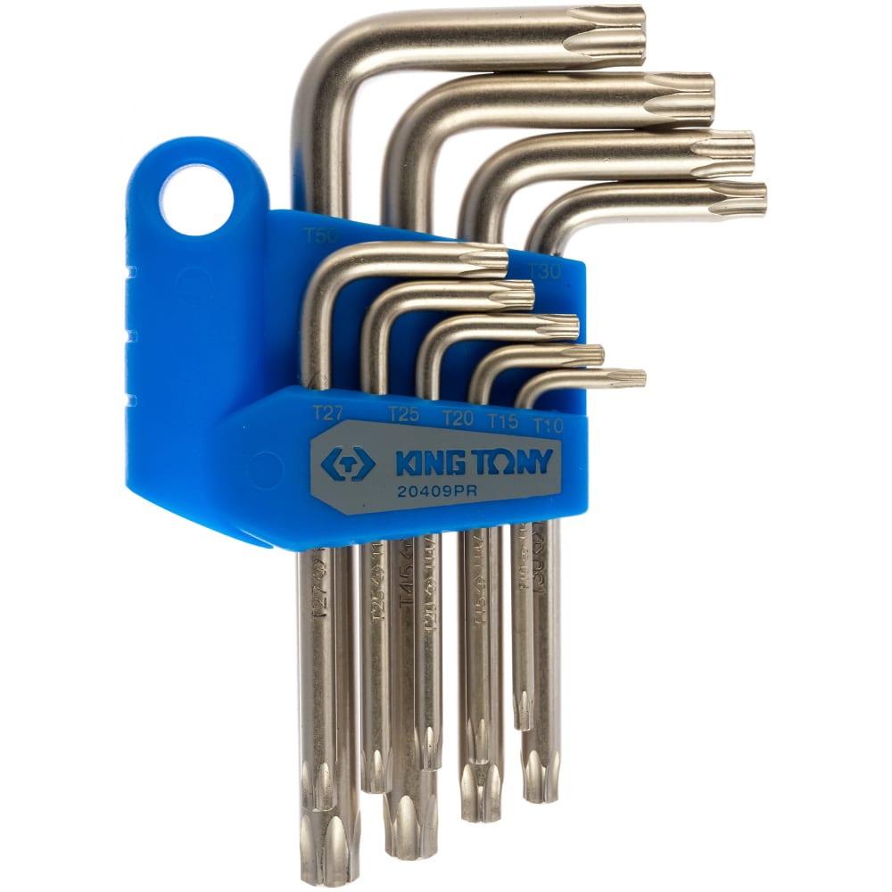 Набор г-образных ключей torx king tony t10-t50 с отверстием 9 предметов 20409pr