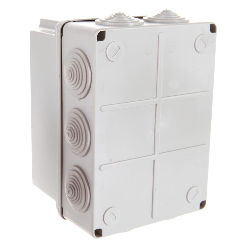 Распаячная коробка с крышкой оп 190х140х120мм, ip55, 10 гермовводов, tdm sq1401-1246