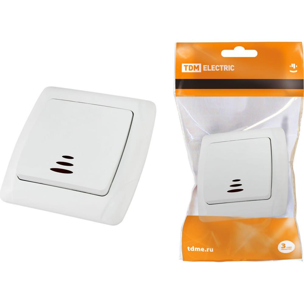 Купить Одноклавишный выключатель tdm с подсветкой, белый онега sq1805-0004