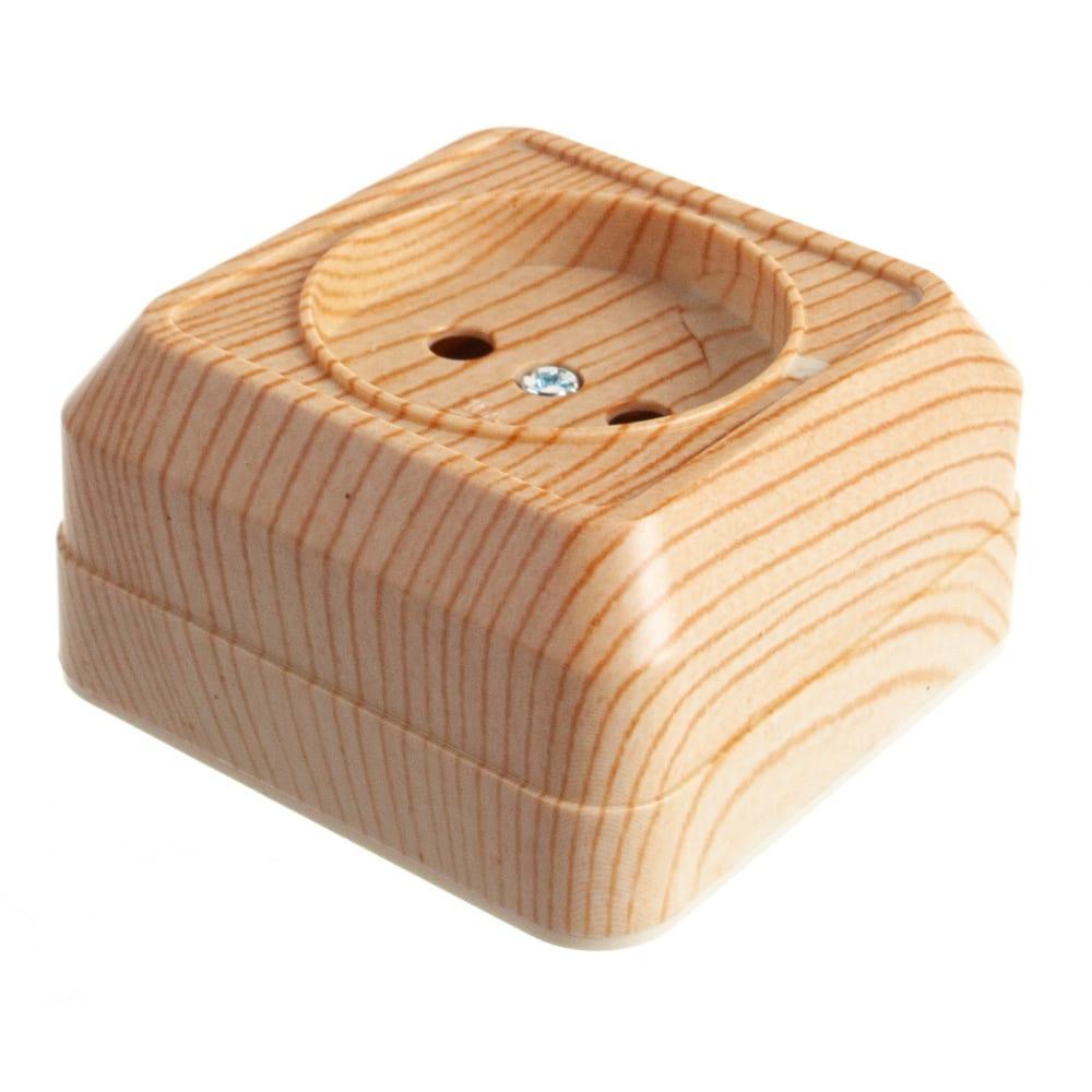 Купить Розетка открытой установки 2п ip20 10а, сосна tdm ладога sq1801-0049