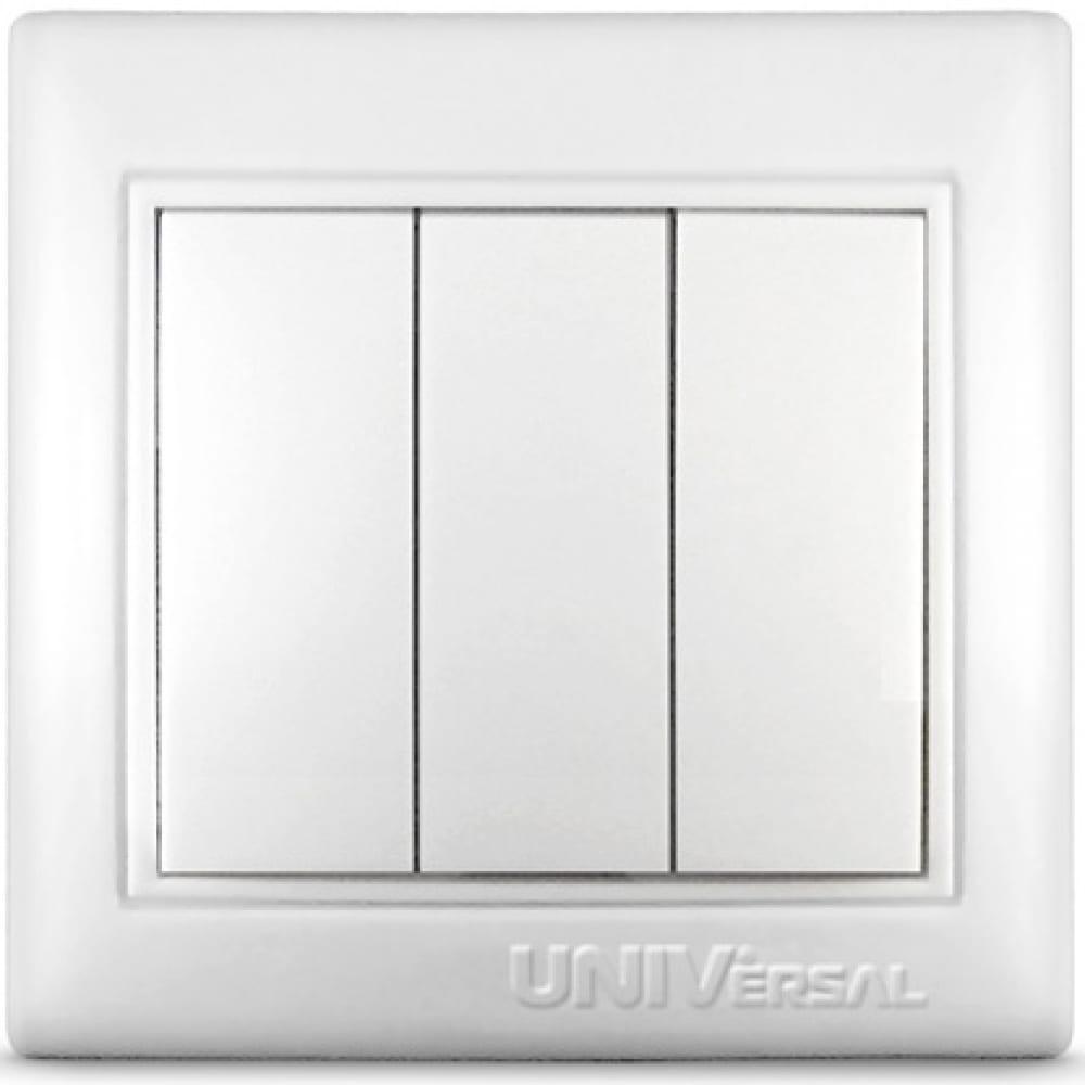 Купить Трехклавишный выключатель, белый universal севиль c0043