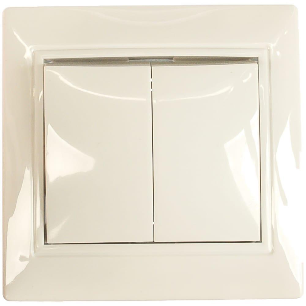 Купить Двухклавишный выключатель, белый universal севиль с0023