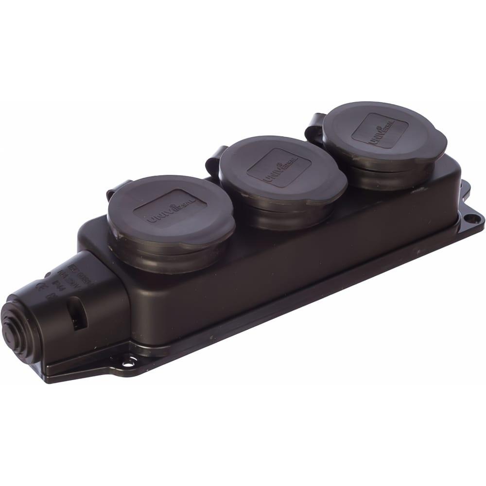 Тройная однофазная каучуковая колодка с заглушками universal 602230